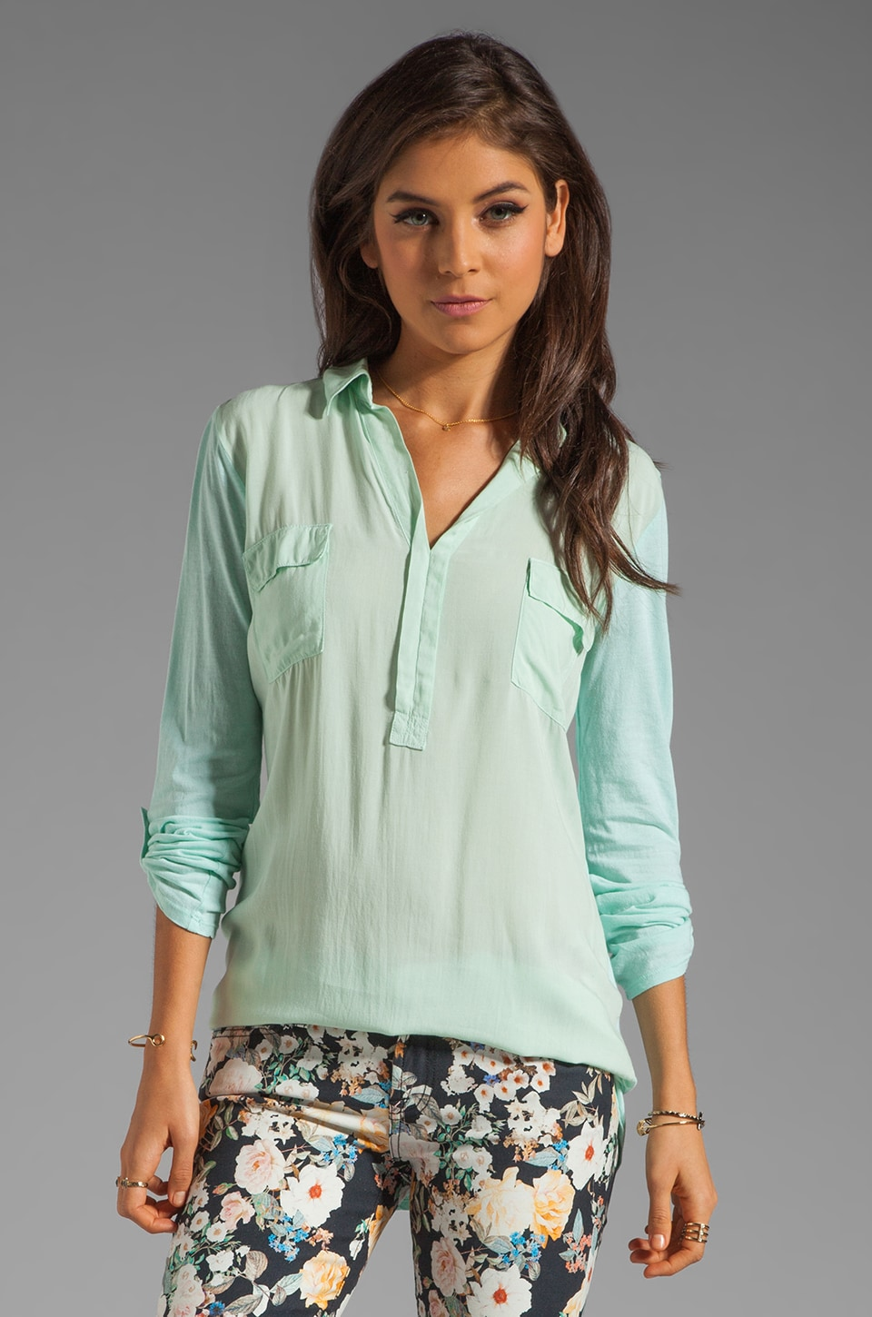 Splendid Shirting Collar Top in Julep