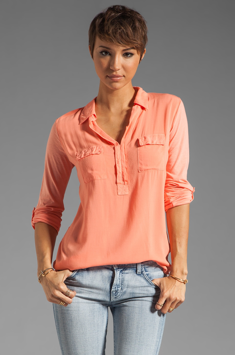 Splendid Shirting Collar Top in Apricot