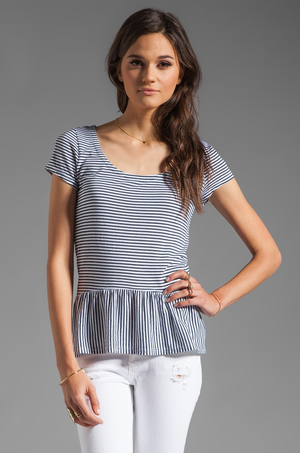 Splendid Naples Stripe Peplum Top in White