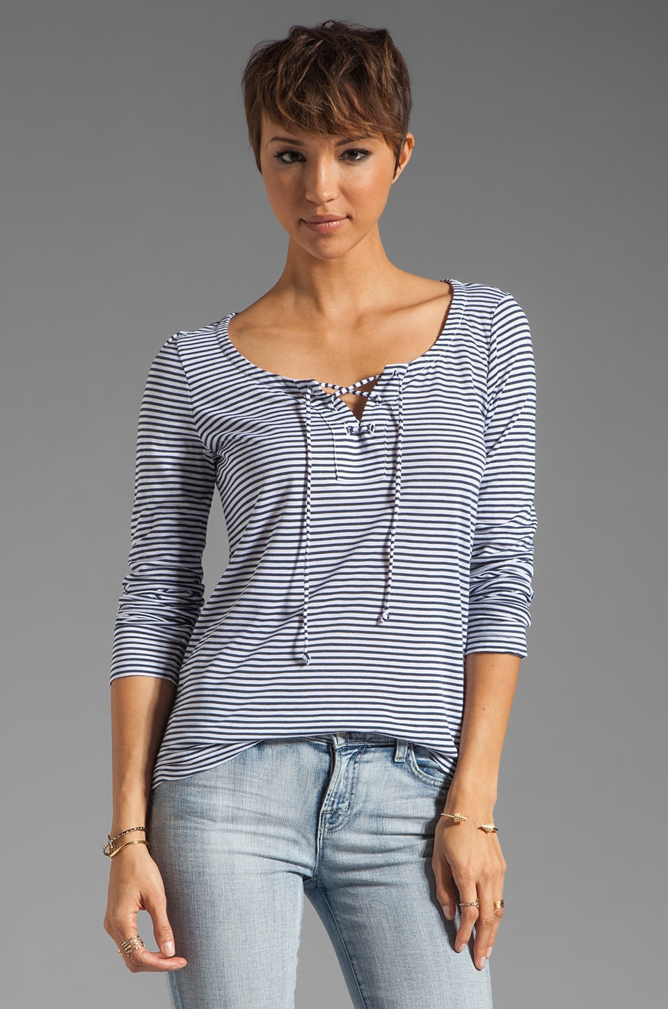 Splendid Naples Stripe Lace Up Top in White