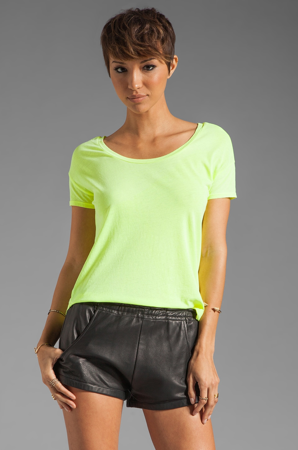 Splendid Vintage Whisper Tee in Neon Yellow
