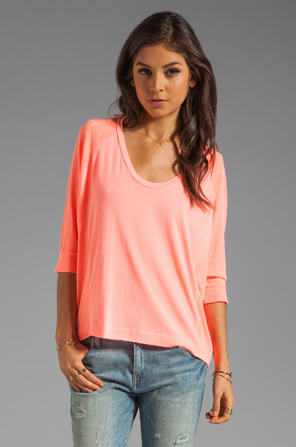 Splendid Vintage Whisper Long Sleeve Top in Neon Coral
