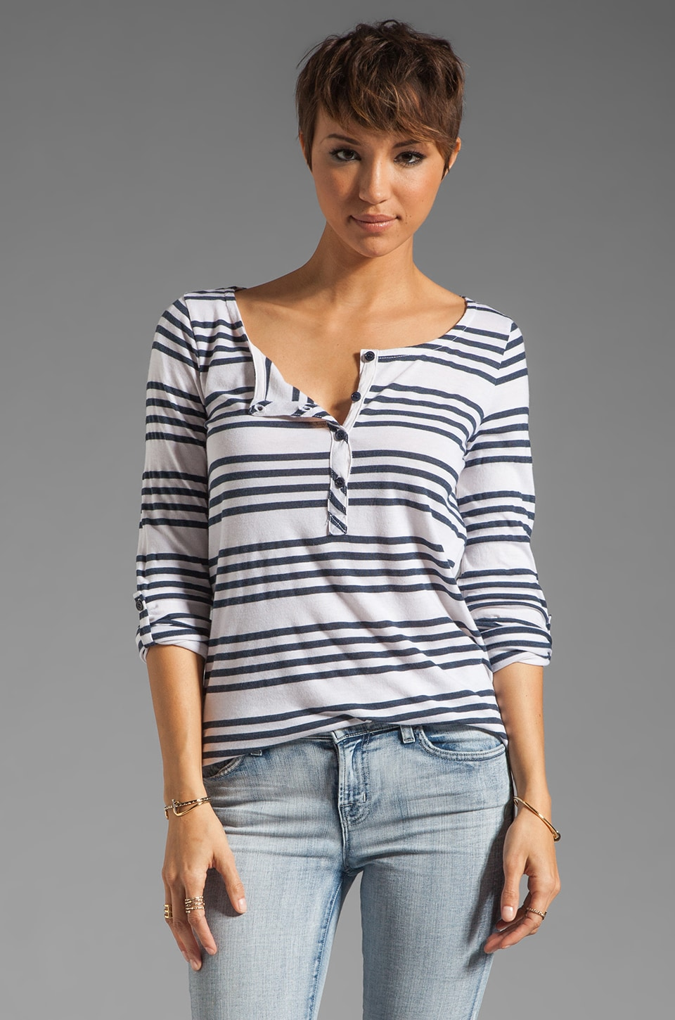 Splendid Capri Stripe Henley in Pearl