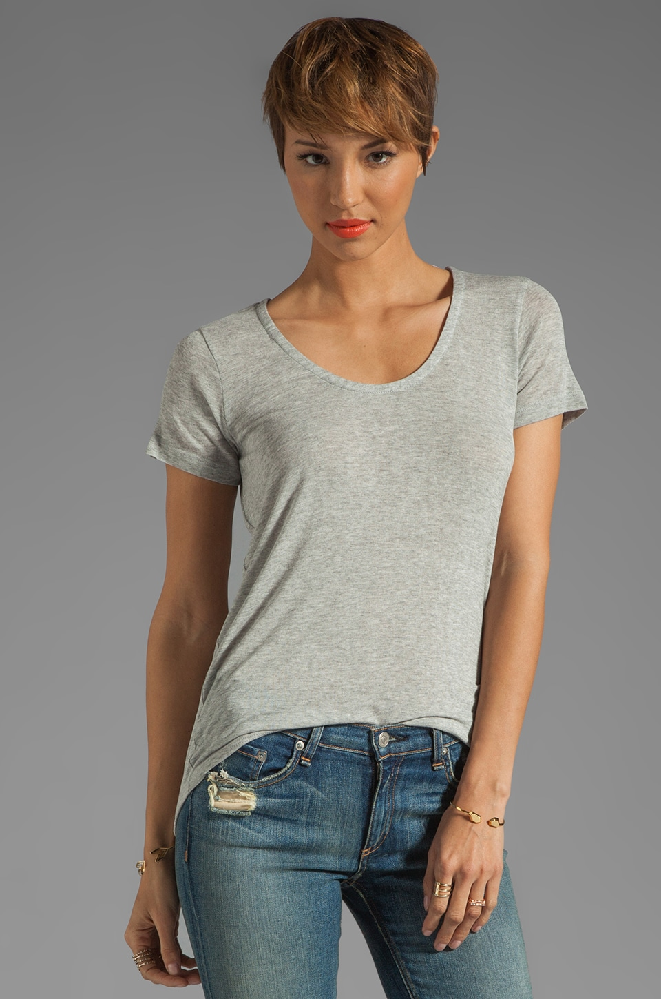 Splendid Drapey Lux Jersey Tee in Heather Grey