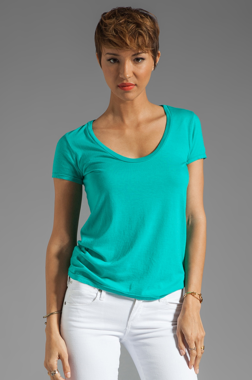 Splendid Very Light Jersey Tee in Ivy