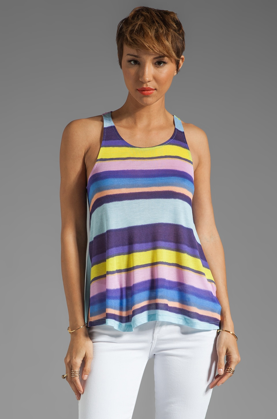 Splendid Watercolor Stripe Tank in Hydrangea