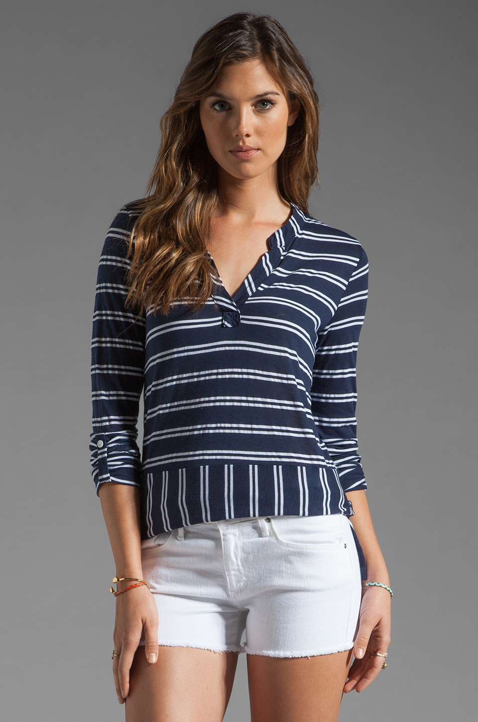 Splendid Double French Stripe Tee in Navy