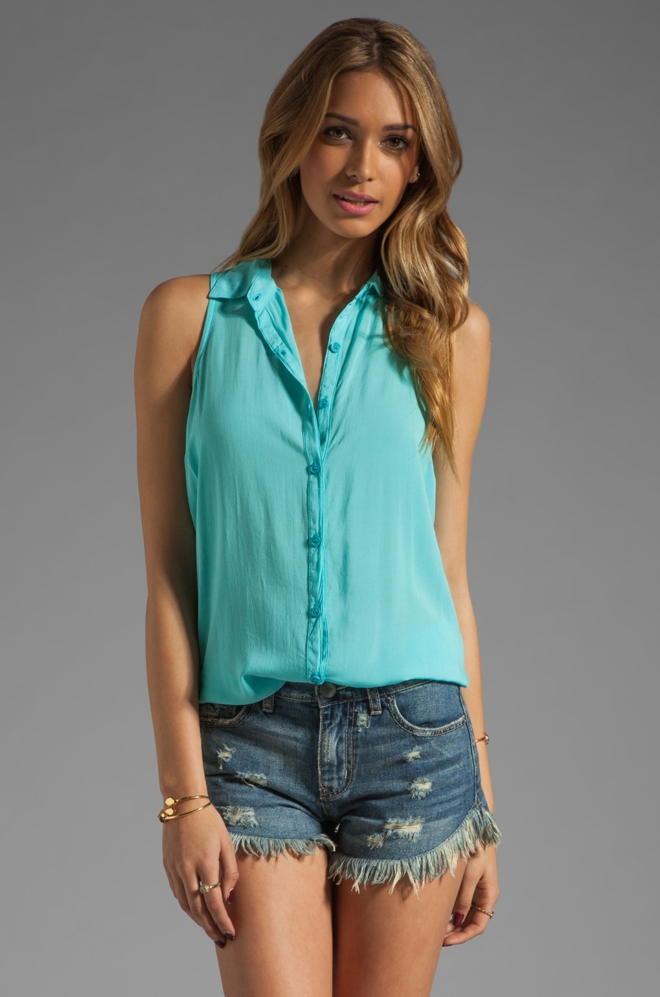 Splendid Shirting Button Up Tank in Aquatic