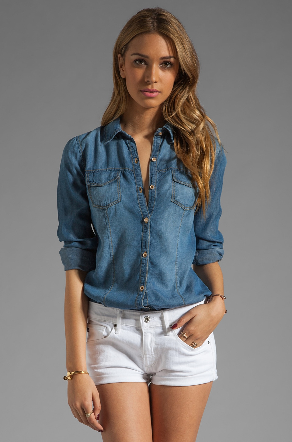 Splendid Solid Chambray Shirt in Indigo