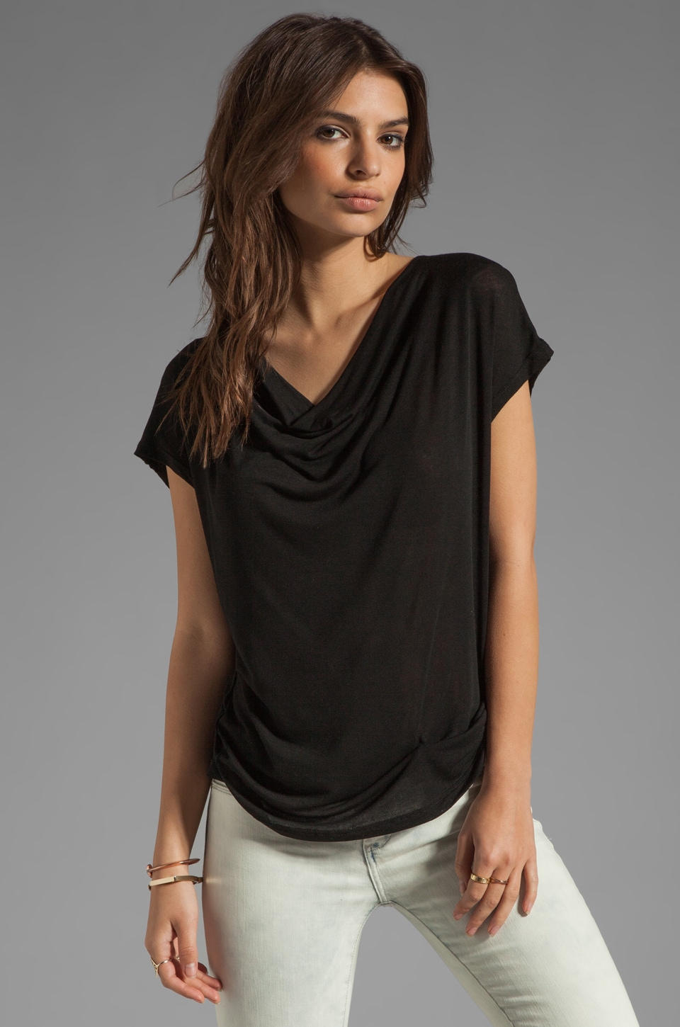 Splendid Drapey Lux Jersey Top in Black