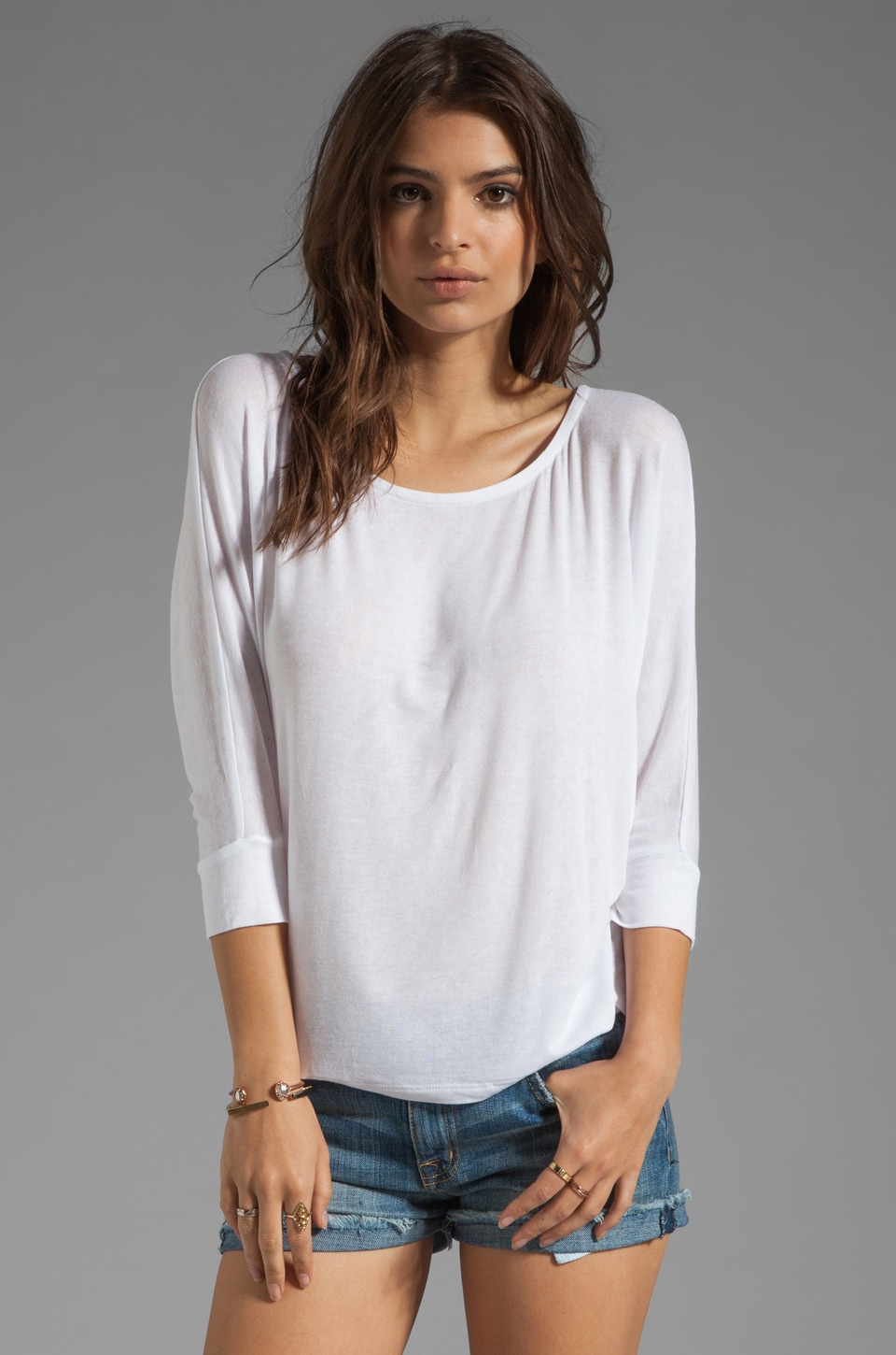 Splendid Drapey Lux Jersey Slub Top in White
