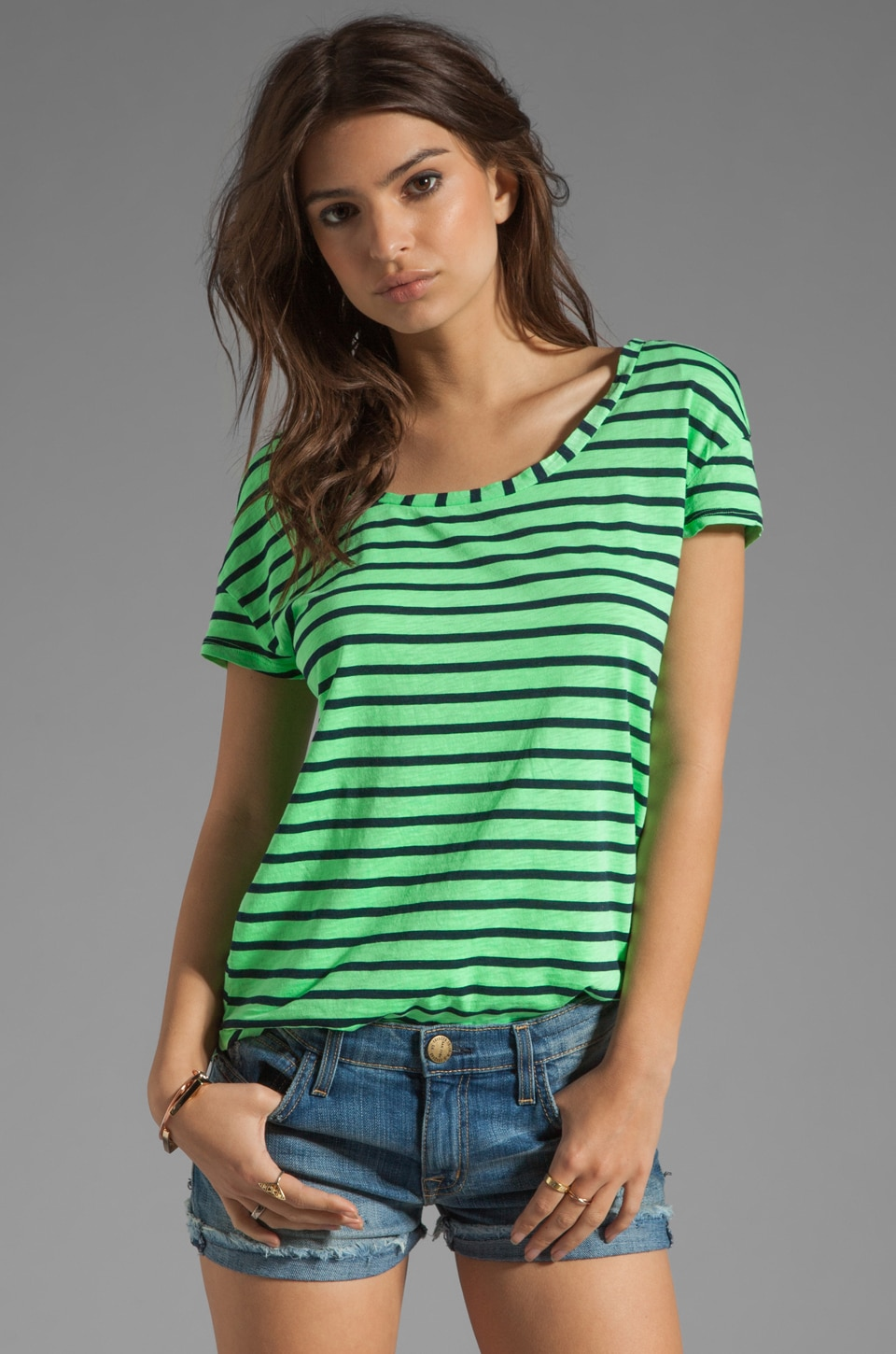 Splendid Miami Stripe Tee in Meadow