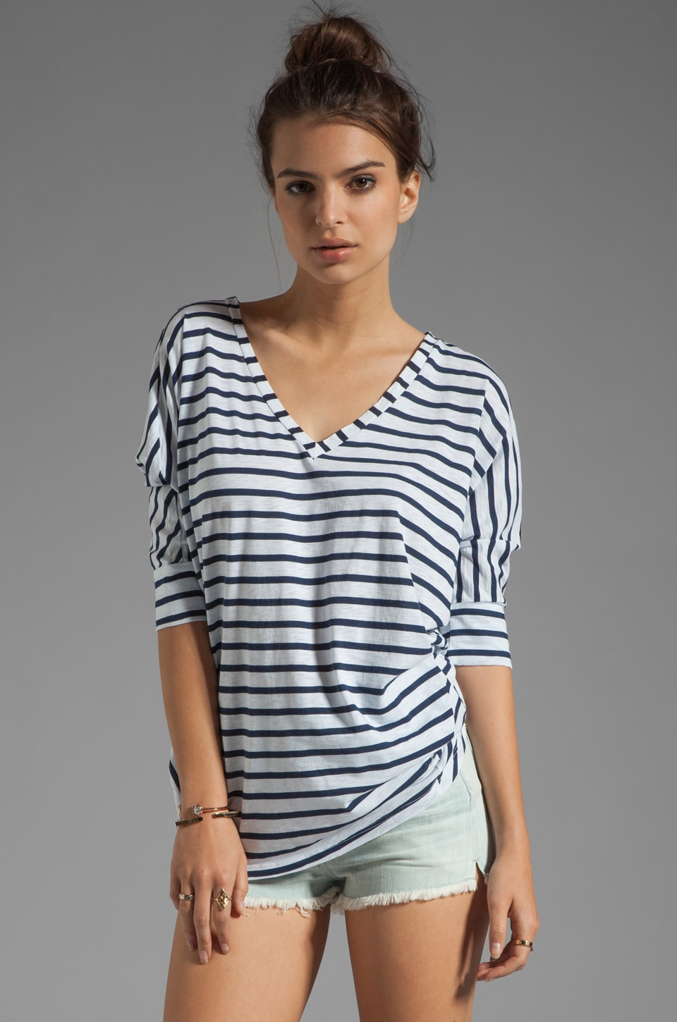 Splendid Miami Stripe V Neck in Paper