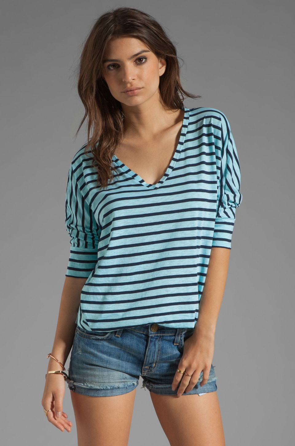 Splendid Miami Stripe V Neck in Caribbean