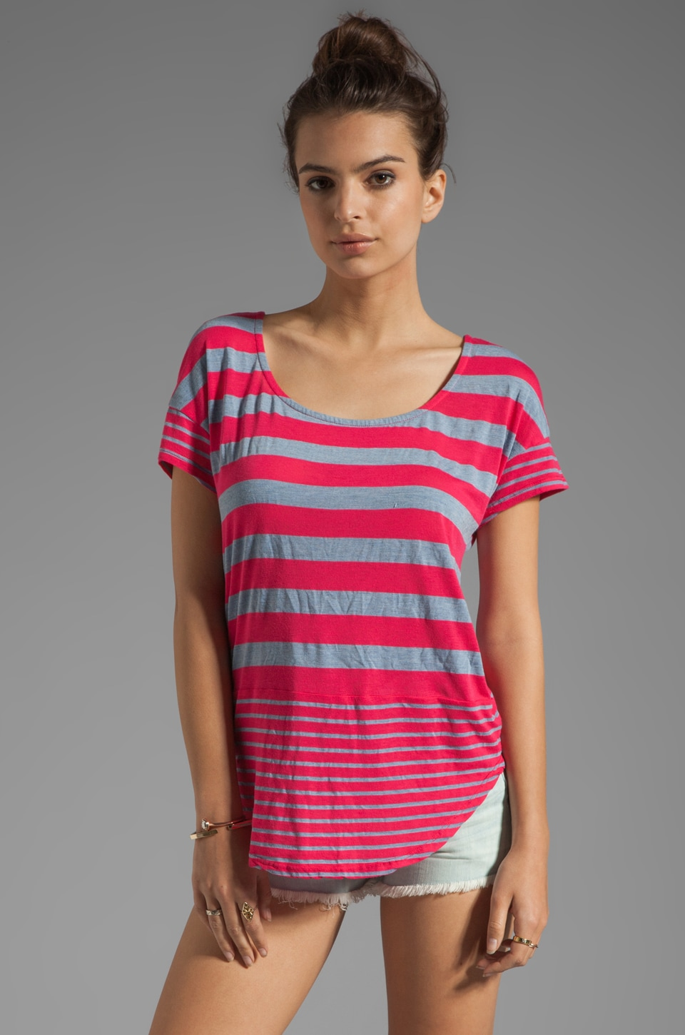 Splendid Marseille Chambray Stripe Tee in Flamingo
