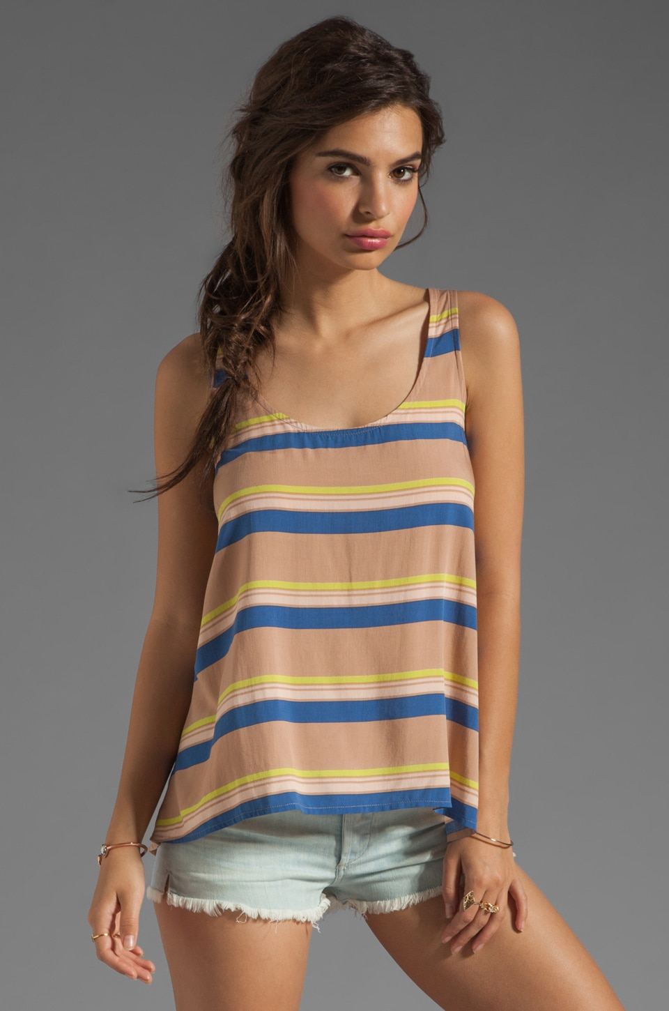 Splendid Cannes Stripe Voile Top in Praline
