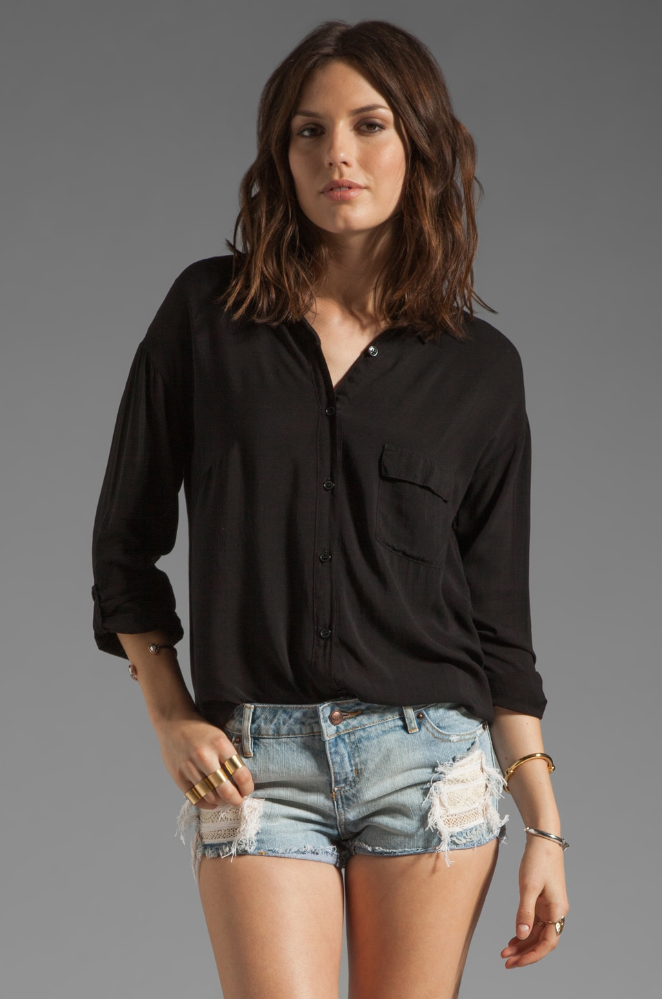 Splendid Shirting Button Up in Black