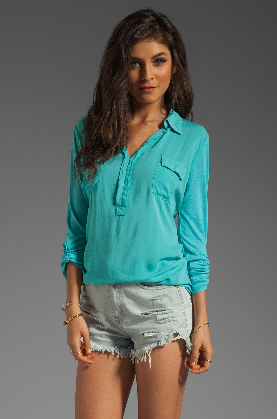 Splendid Shirting Collar Top in Waterfall