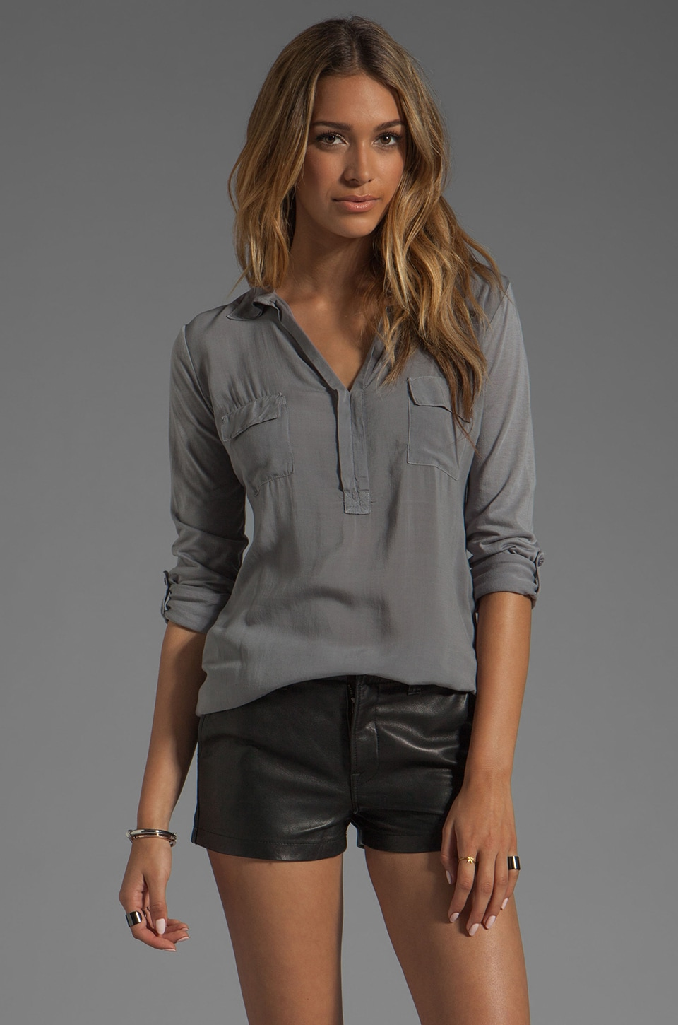 Splendid Shirting Collar Top in Storm
