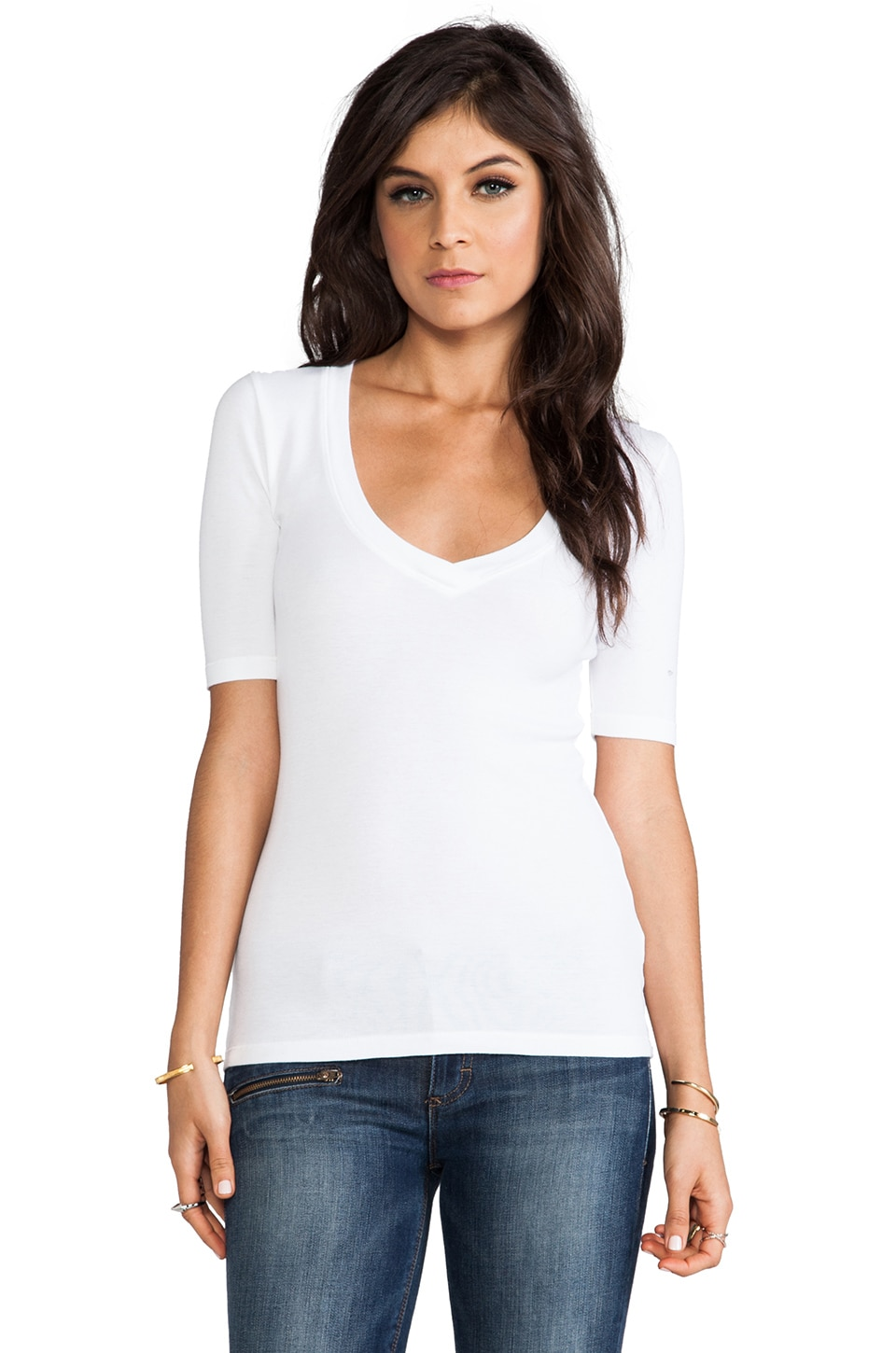 Splendid 1x1 V Neck in White