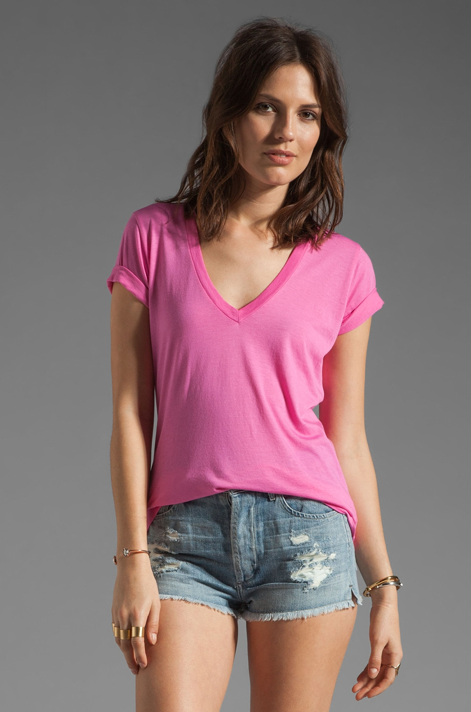 Splendid Very Light Jersey V Neck Tee in Parfait