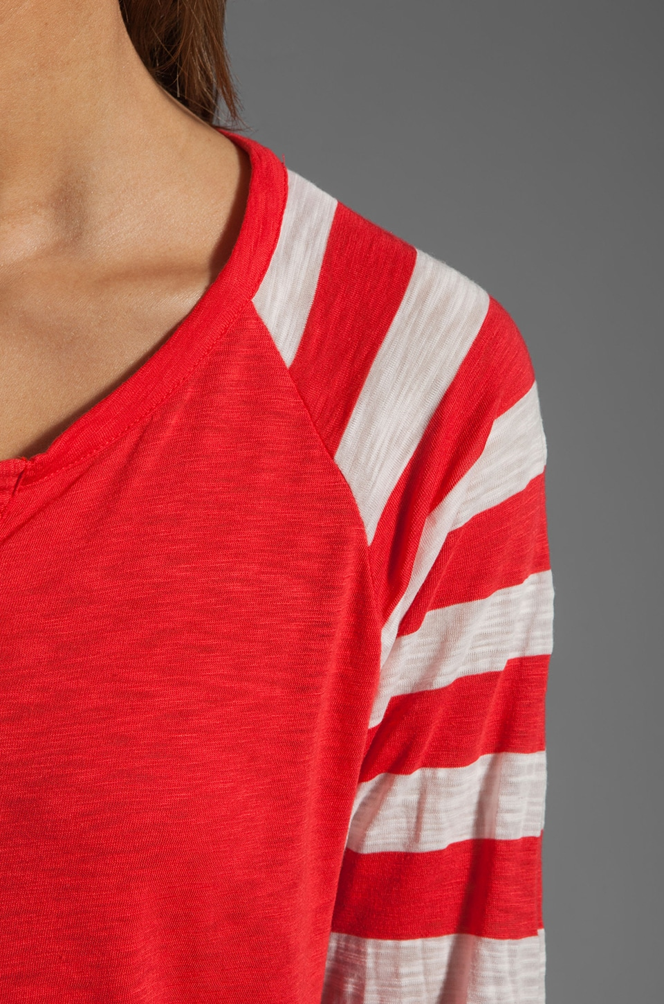 Splendid White Rugby Stripe Baseball Tee in Bonfire