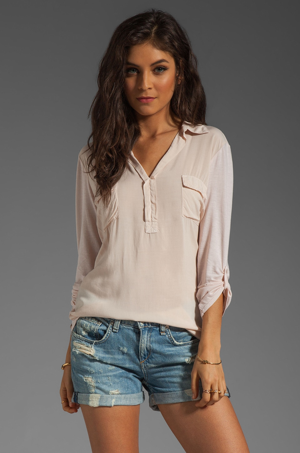 Splendid Shirting Collar Top in Sand