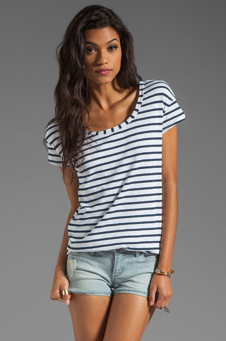 Splendid Miami Stripe Tee in Paper