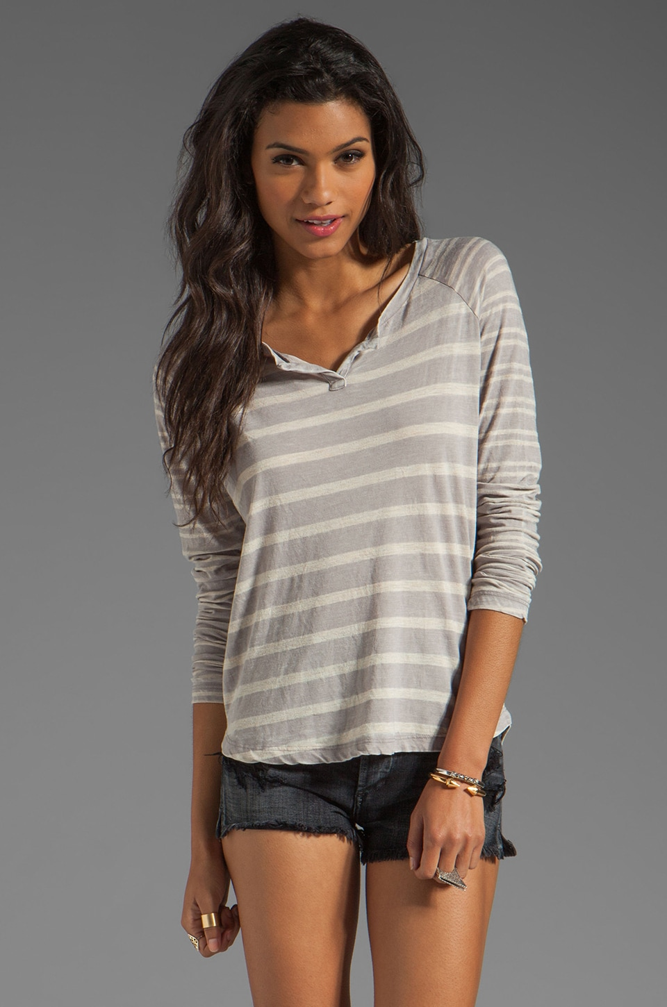 Splendid Sugarcane Stripe Top in Storm