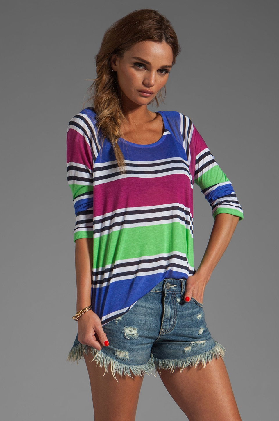 Splendid Cabana Stripe Top in Plum