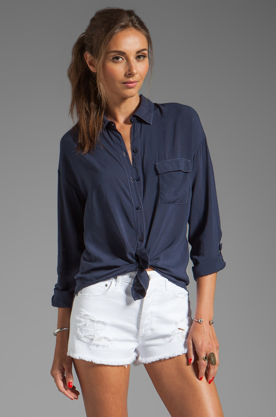 Splendid Shirting Button Up in Navy