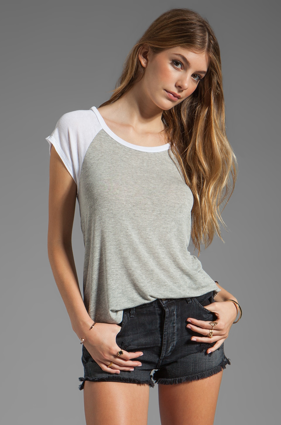 Splendid Drapey Lux Baseball Tee in Heather Grey