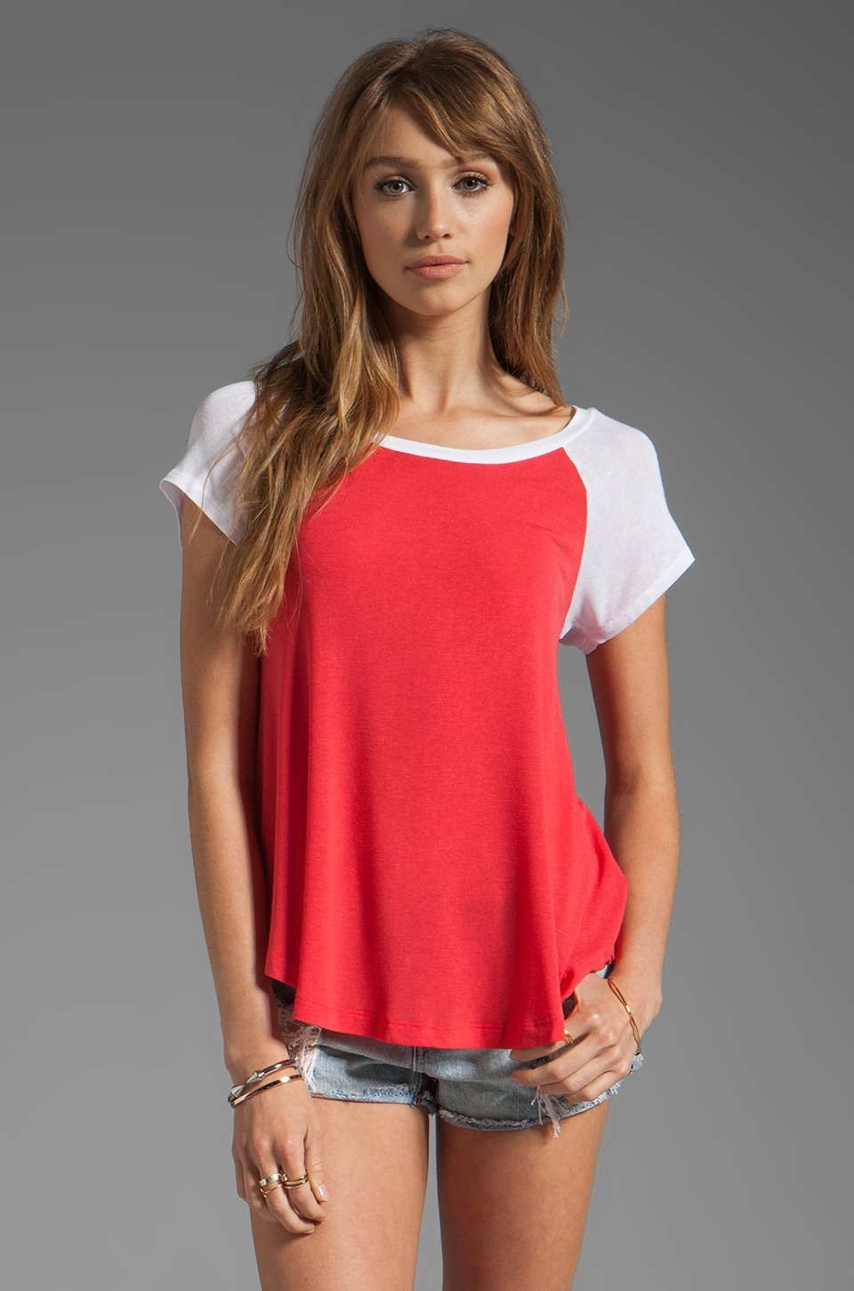 Splendid Drapey Lux Baseball Tee in Canyon