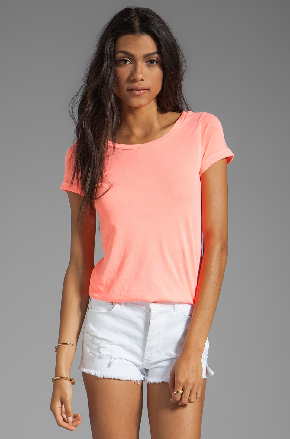 Splendid Vintage Whisper Low Back Tee in Neon Coral