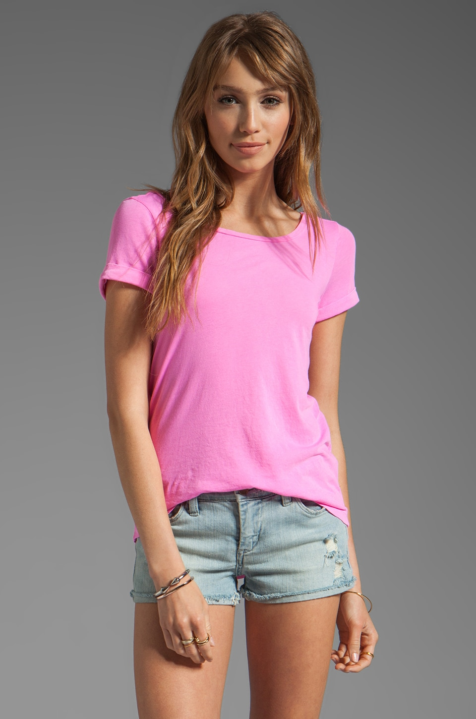 Splendid Vintage Whisper Low Back Tee in Taffy