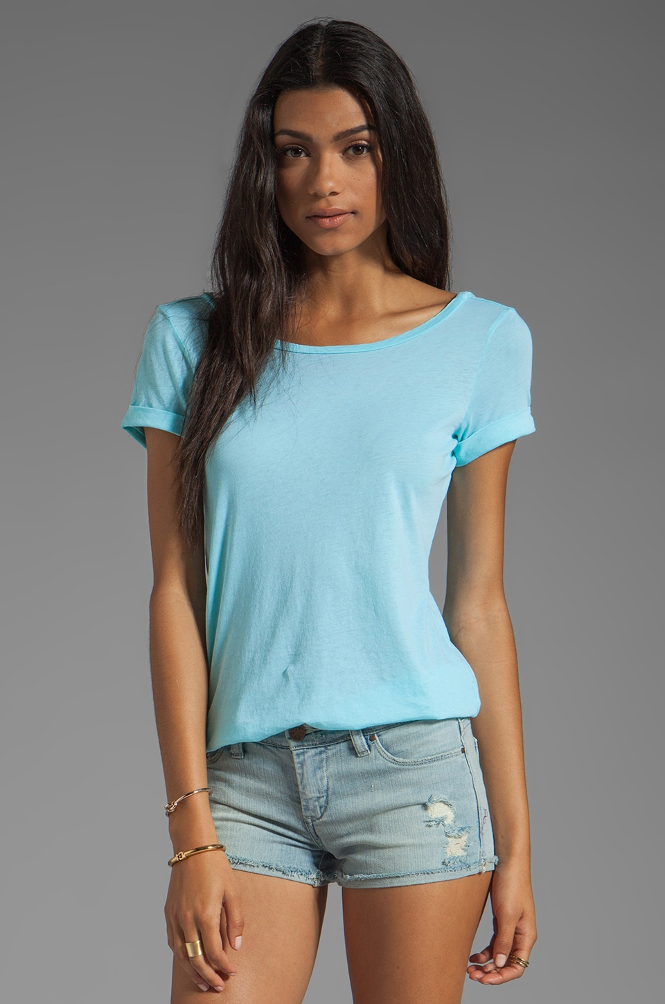 Splendid Vintage Whisper Low Back Tee in Caribbean