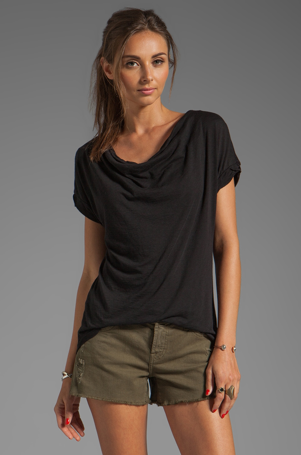 Splendid Very Light Jersey Drape Top in Black