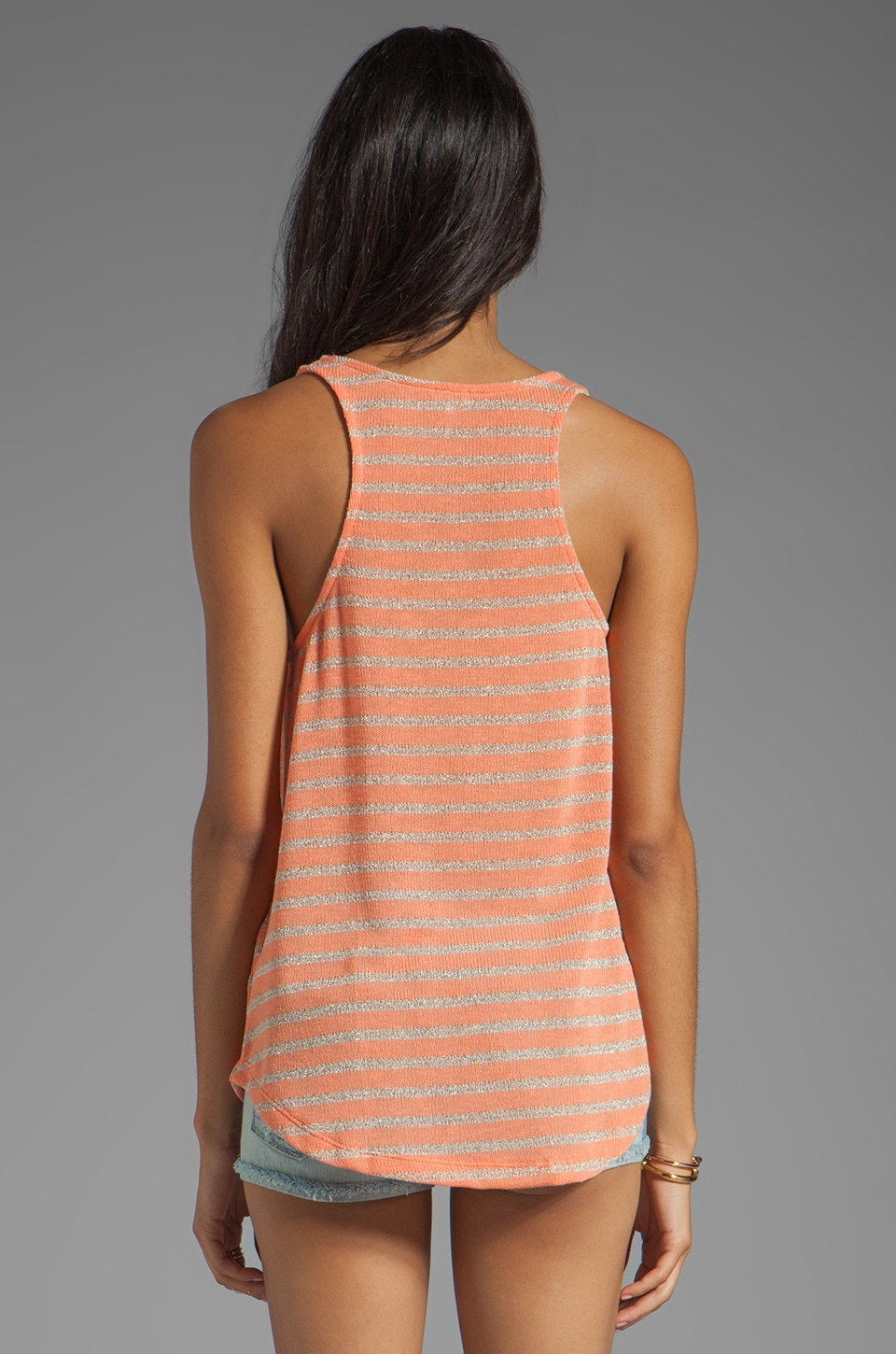 Splendid Disco Stripe Loose Knit Tank in Apricot