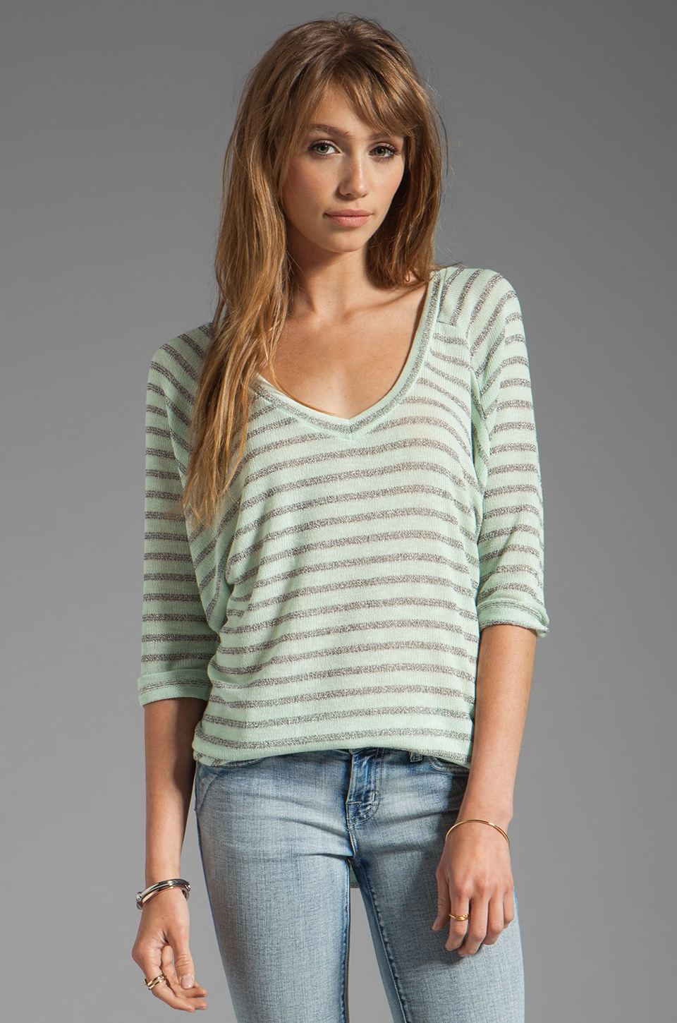 Splendid Disco Stripe Loose Knit Top in Pistachio