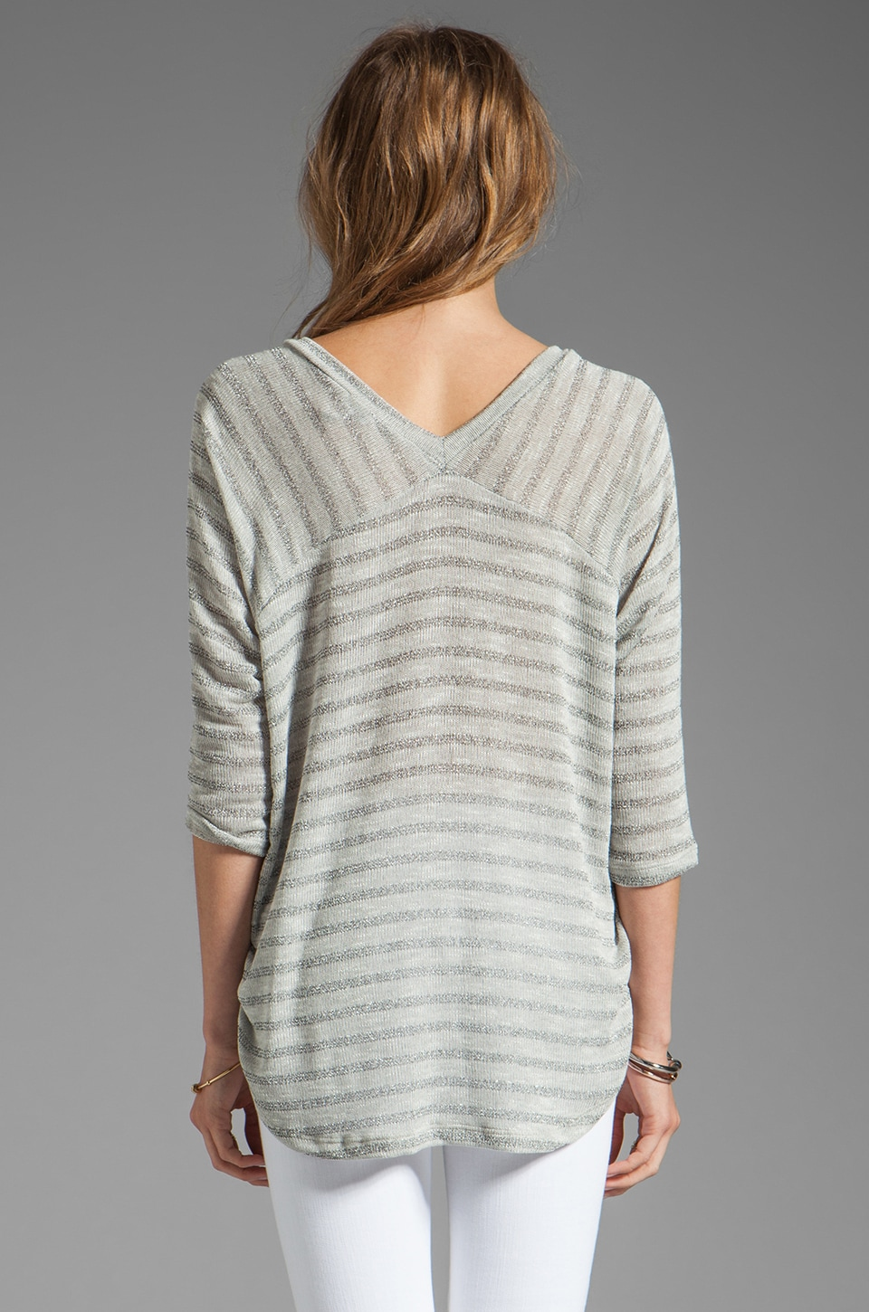 Splendid Disco Stripe Loose Knit Top in Heather Grey