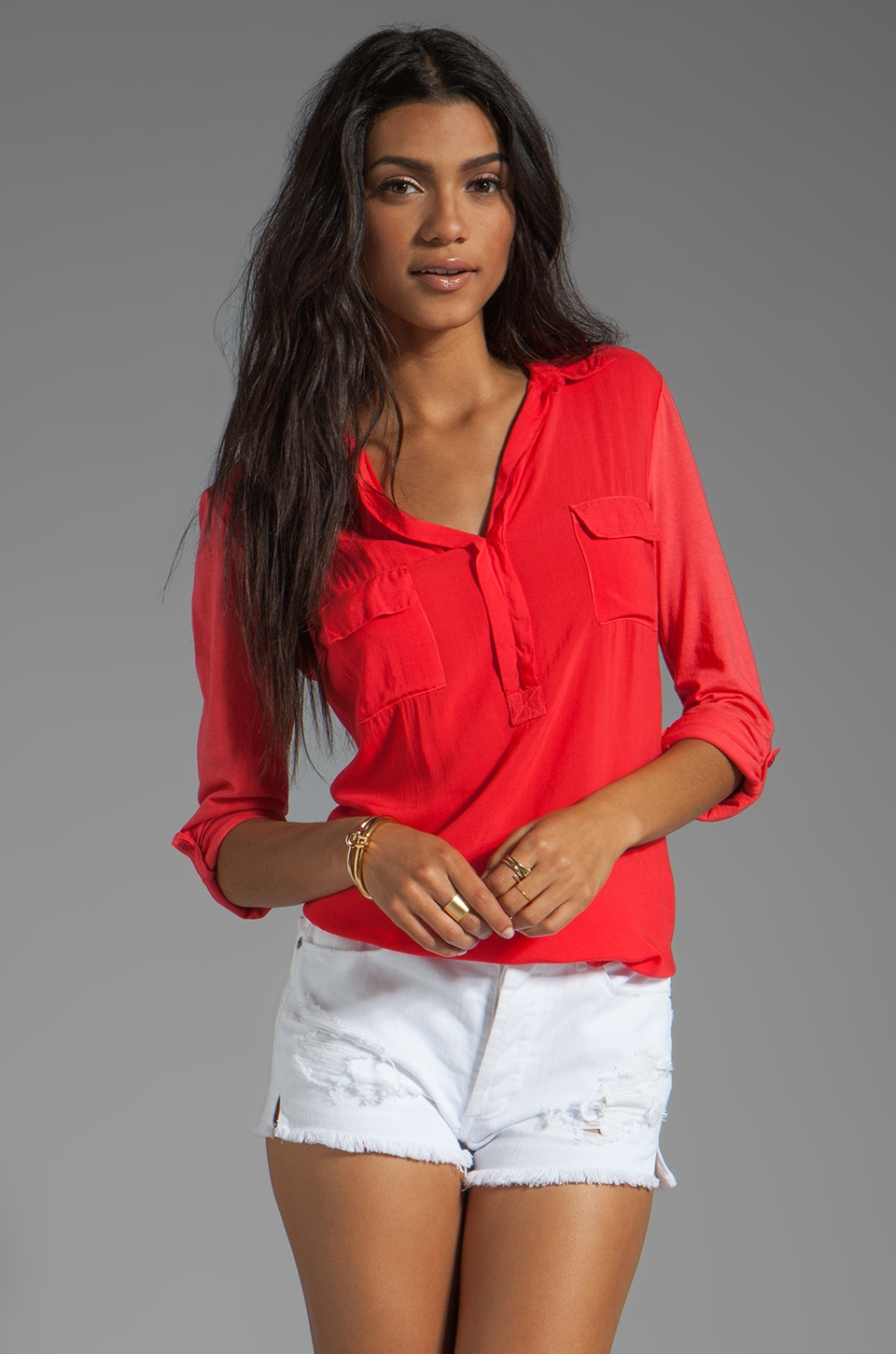 Splendid Shirting Collar Top in Bonfire