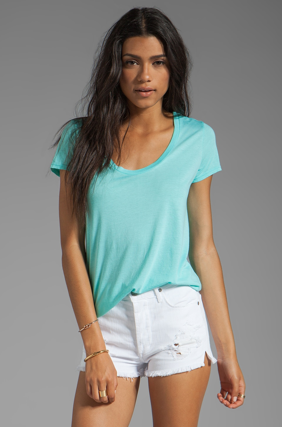 Splendid Very Light Jersey Crew Neck Top in Waterfall