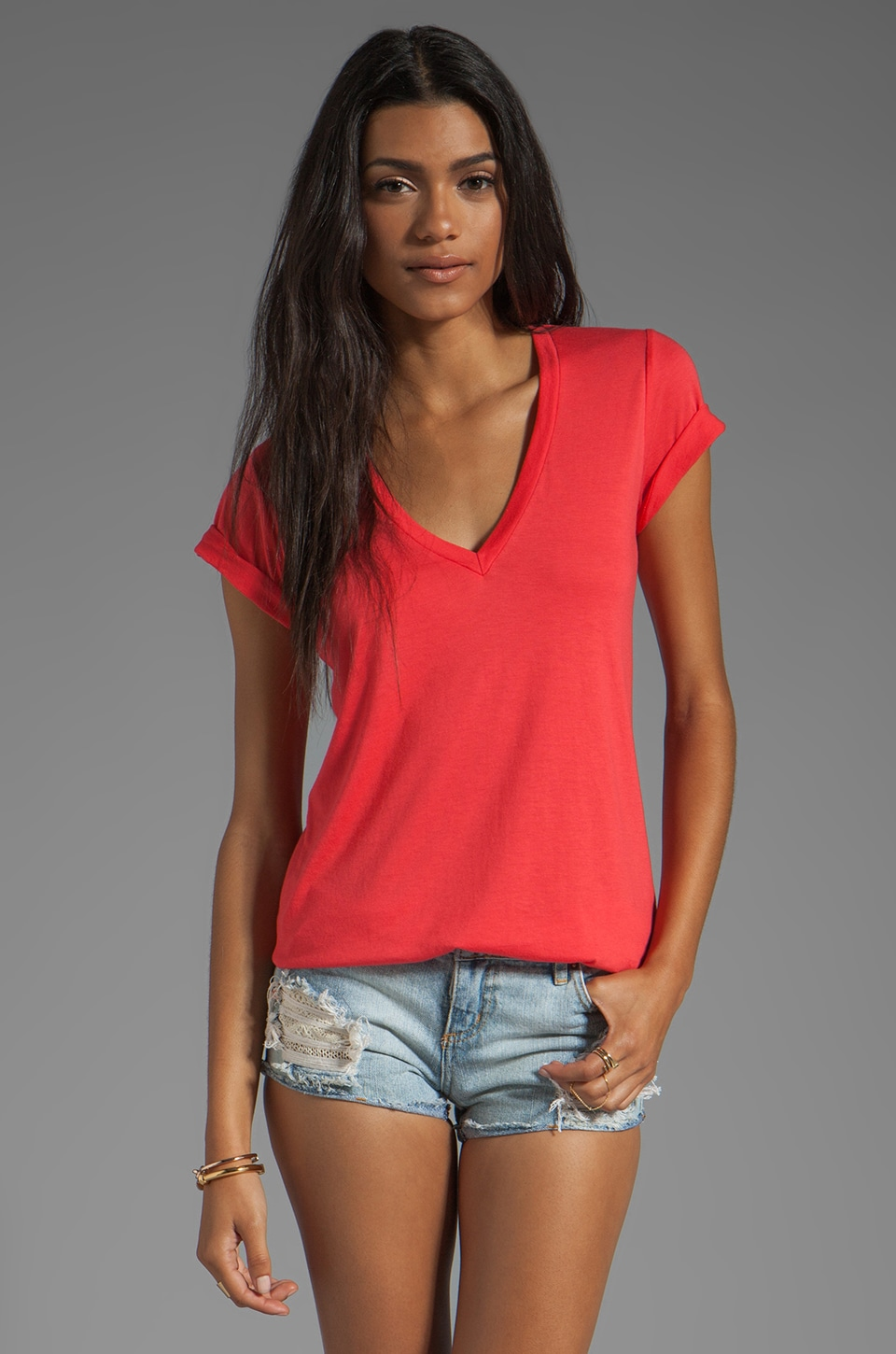 Splendid Very Light Jersey V Neck Top in Bonfire