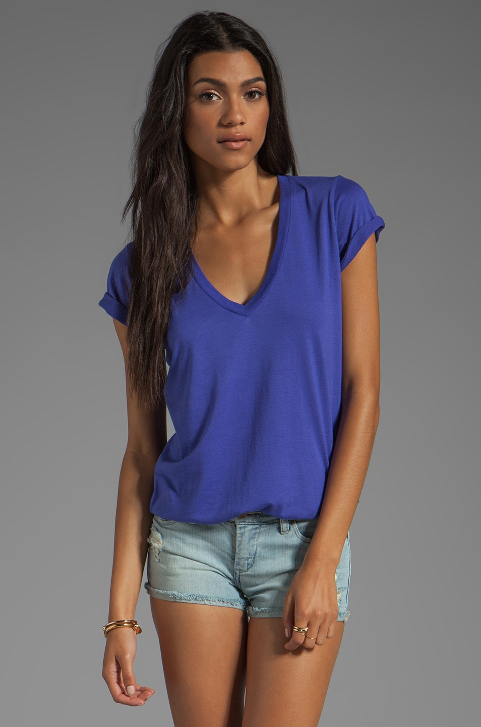 Splendid Very Light Jersey V Neck Top in Cerulean