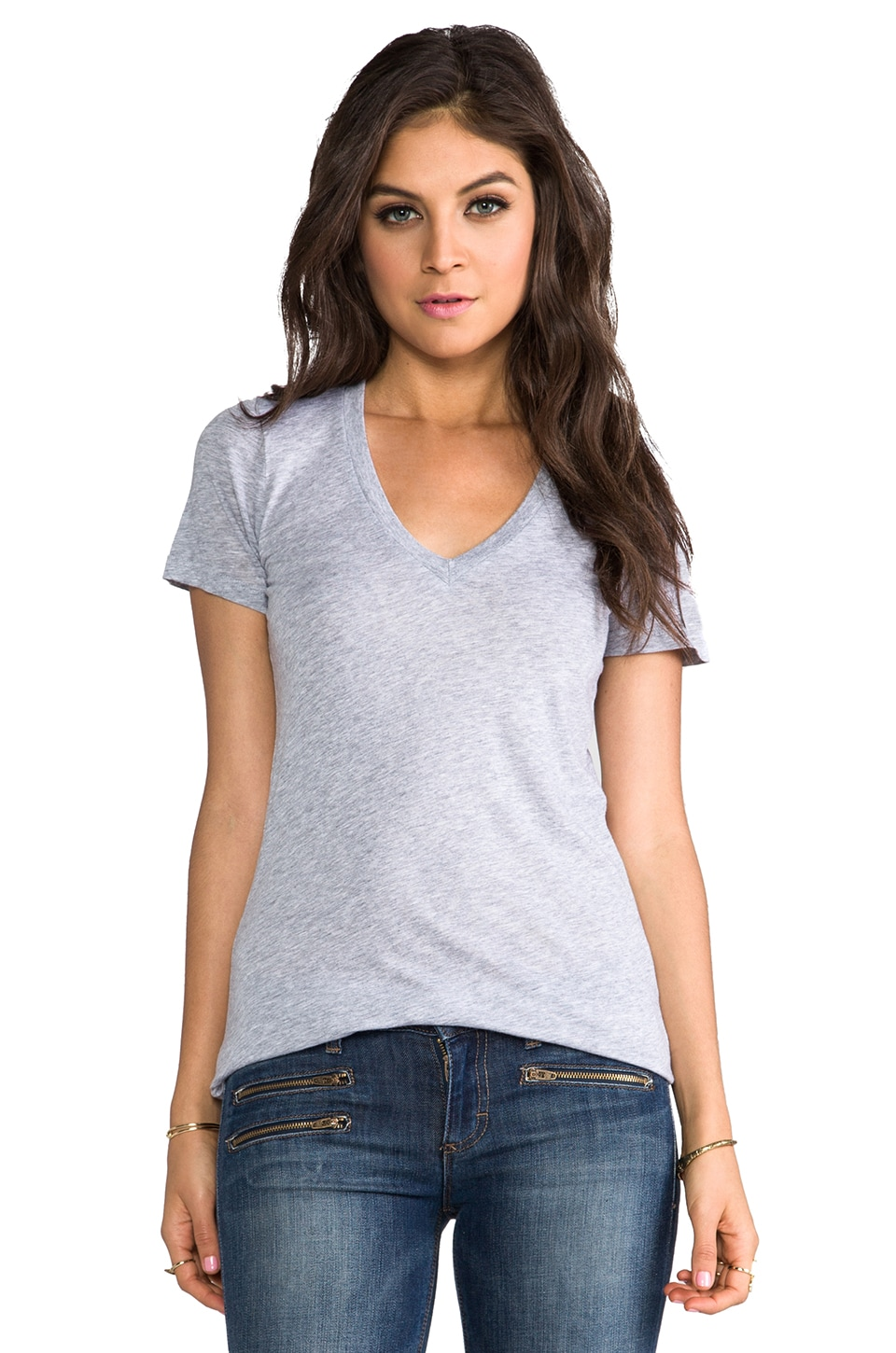 Splendid Very Light Jersey V Neck Top in Heather Grey