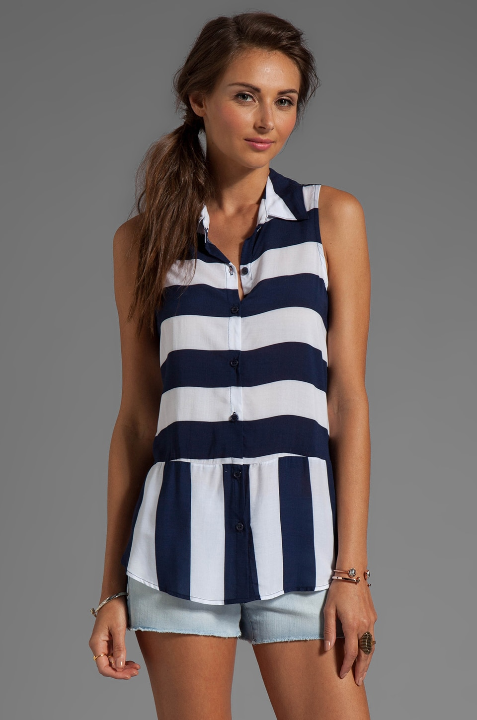 Splendid Magnolia Stripe Tank in Navy/White