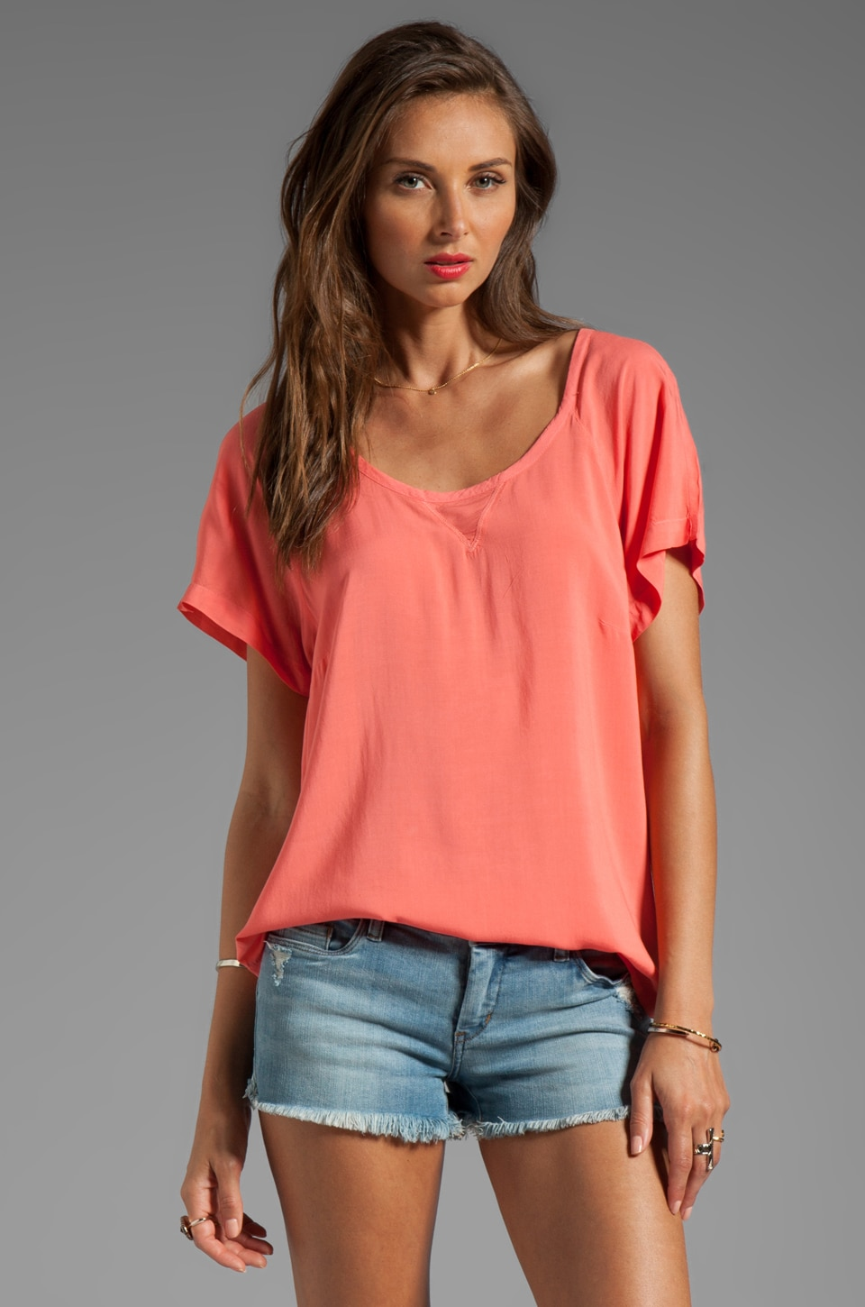 Splendid Shirting Short Sleeve Top in Hot Coral