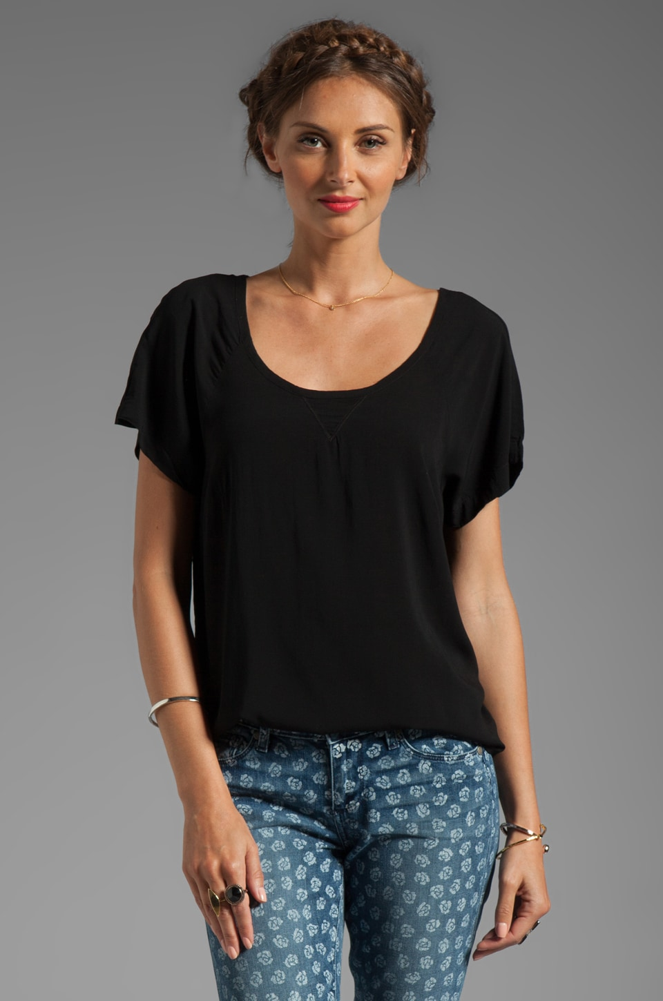 Splendid Shirting Short Sleeve Top in Black