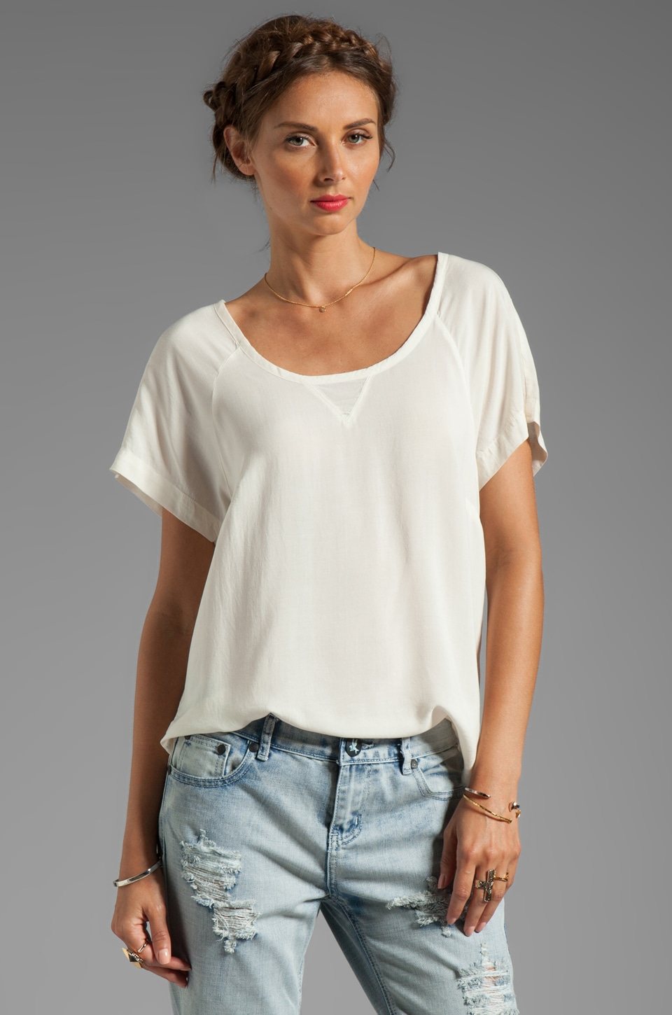 Splendid Shirting Short Sleeve Top in Sand Dollar