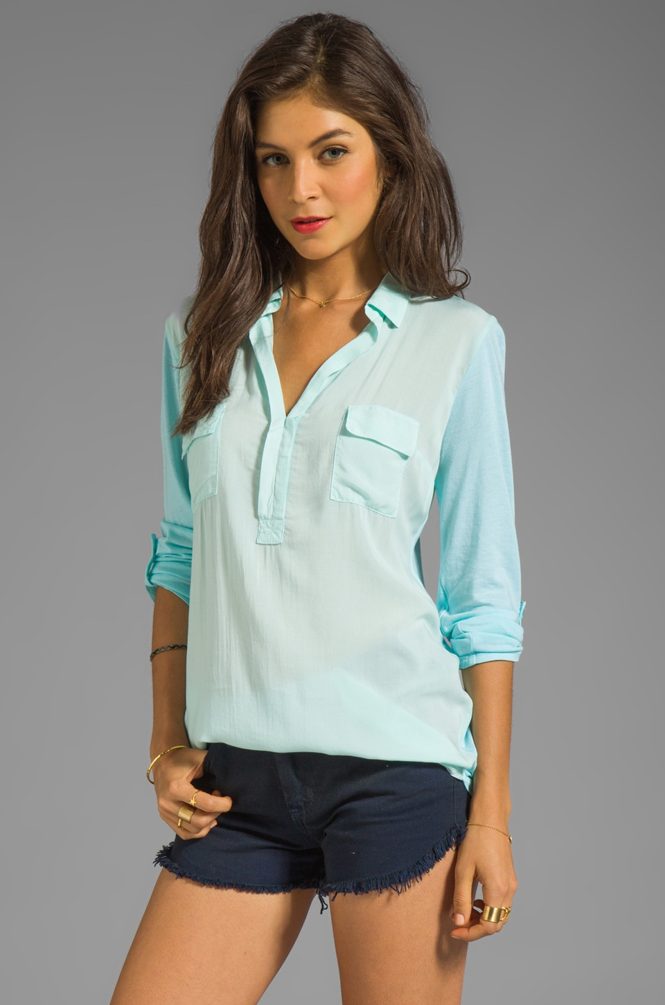 Splendid Shirting Collared Top in Feather Blue